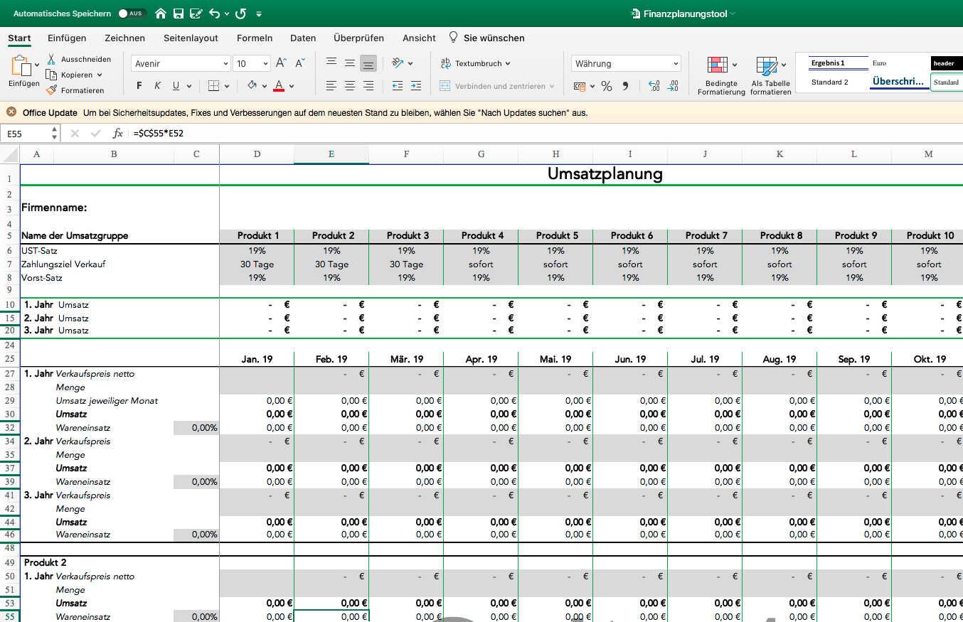 Umsatzplanung Businessplan