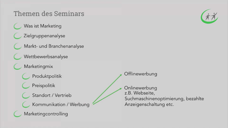 Marketing für Gründer - Themen Marketing Seminar